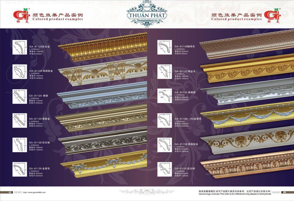 Phào chỉ hoa văn cổ điển dát vàng bạc